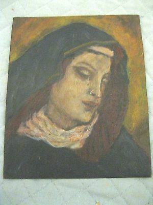 Original Vintage Oilpainting On Tin Of Mary Magdalene Excellent Condition