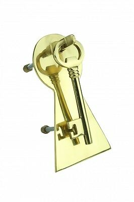 "Solid Brass Vintage Door Knocker Key Plate 6"" H 