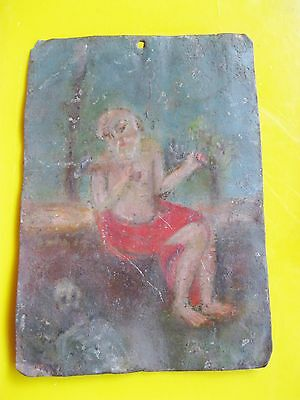 Original Antique Retablo On Tin , Saint Jerome Unretouched Minimal Paint Loss
