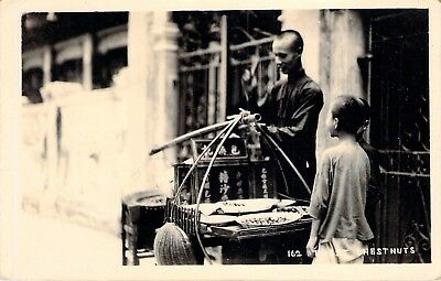 c1930's RPPC Hong Kong;  Chestnut Vendor. (Roasting Chestnuts)
