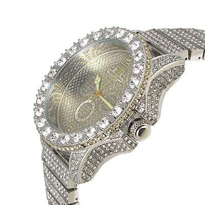 Men Hip Hop Bling Iced out White Gold PT Rapper's BIG Simulated Diamond Watch
