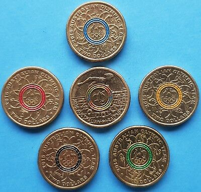 2.00 2016 Olympic Australian Coins (Set Of 6) Circulated