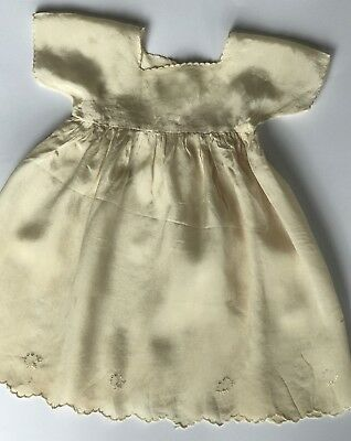 Antique Baby Dress Ivory Silk Hand-Embroidery Suitable Doll