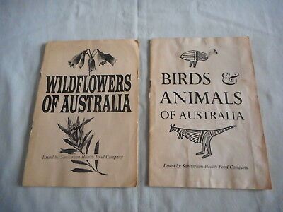 Vintage Sanitarium Card Albums x 2 - Wildflowers of Australia -Birds and Animals