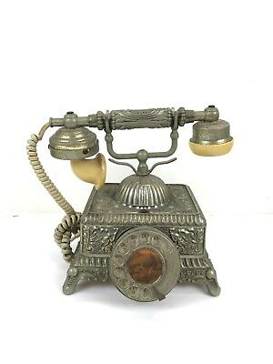 Vintage French Victorian Style Gold Heavy Brass Rotary Dial Telephone
