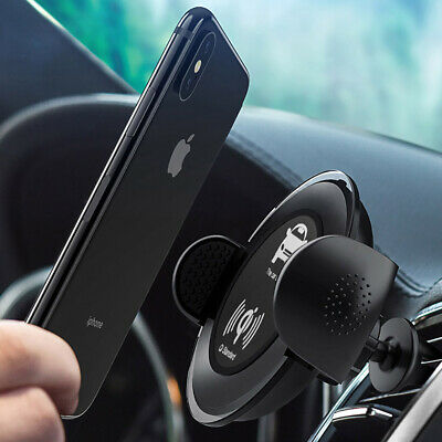 US Qi Wireless Car Charger Charging Phone Mount Holder For iPhone XS XR XS Max X