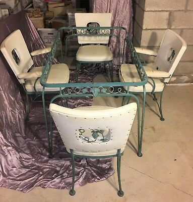 WOODARD WROUGHT IRON PATIO DINETTE SET - PEEKABOO CHAIRS - Mid-Century Modern