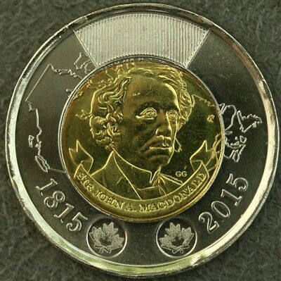 2015 Canada $2 200th anniversary of the Birth of Sir John A. MacDonald  UNC