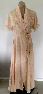 Vintage 1940's Floral  Gown Nightie By Patolaine Lingerie of Refinement Size S