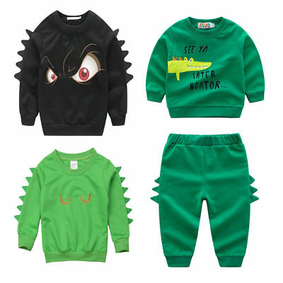 2PCS Toddler Baby Boy Top Pant Leggings Outfits Toddler Warm Clothes Sets
