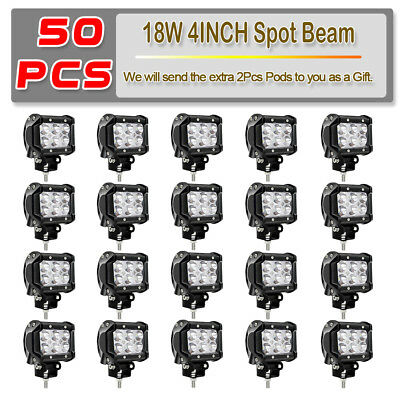 "50X Dual Row 4""INCH LED Work Light Bar Pod Work Spot Offroad Fog Driving Lamps"