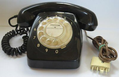 Vintage Old Black Retro Stc Rotary Dial Telephone Phone For Office Or Home