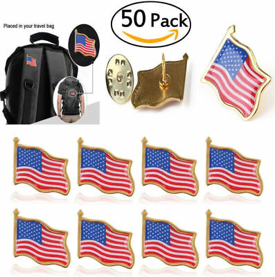 50pcs Unisex American Flag US Lapel Pin United States USA Hat Tie Tack Badge Pin