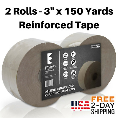 "BESTAPE gummed reinforced Kraft Paper Water Activated 3"" Tape - 2 Rolls 900ft"