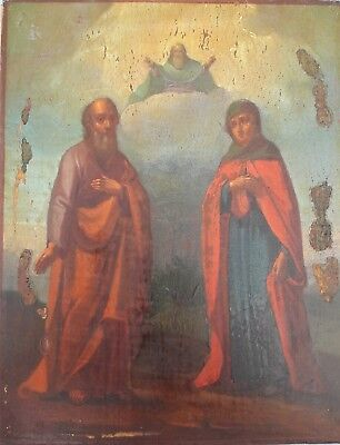 Antique icon Righteous Simeon Bogopriimets, Anna the Prophetess XIX  century