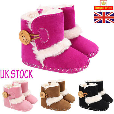 Baby Winter Warm Boots Infant Kids Booties Toddler Girls Boys Walking Shoes UK