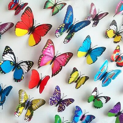 36Pcs Home 3D Butterfly Lifelike Multicolor Removable Wall Sticker Decal Decor