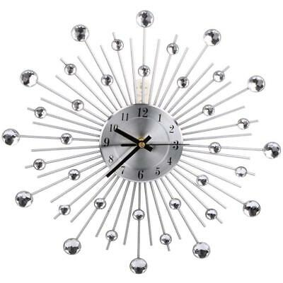 33cm Handcrafted Diamante Beaded Crystal Jewel Sunburst Silver Metal Wall Clock