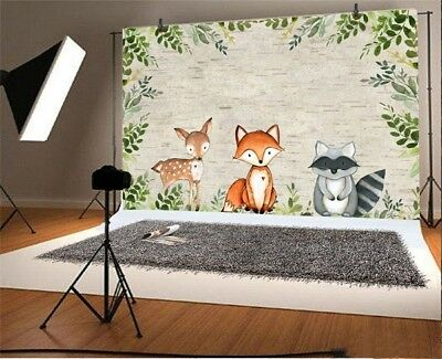 Vinyl 6X4Ft Forest Animal Children Photography Backgrounds Photo Backdrop Props