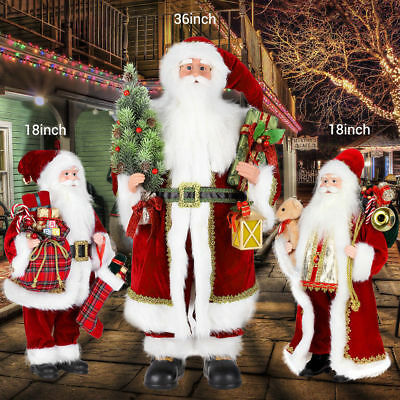Traditional Standing Father Christmas Santa Claus Figure Xmas Decoration