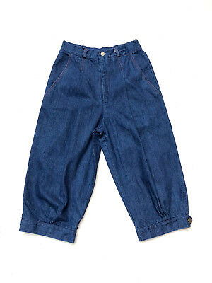 Vintage 1970s high waisted, denim knickerbockers with pleats and side pockets