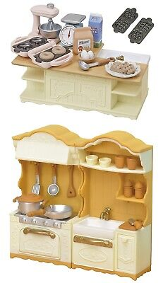 2 Sylvanian Families Sets - Island Kitchen and Kitchen Stove and Sink