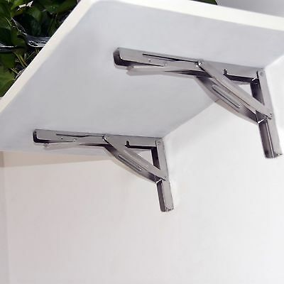 2PCS Boat Stainless Steel Table Bracket Folding Shelf Support Bench 250kg Load
