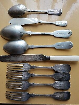 Quantity of old silver cutlery