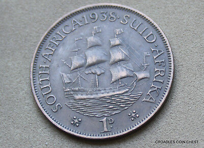1938 South Africa Penny Ship Circulated Good Grade As Imaged  #plr40