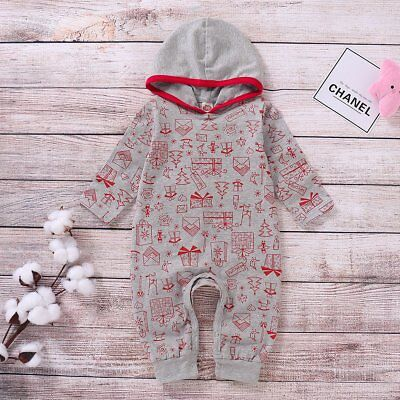 Newborn Baby Boy Girl Hooded Long Jumpsuit Romper Bodysuit Cotton Clothes Outfit
