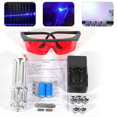5W Thor High Power 450nm Blue Laser Pointer Beam BURN Light Full Set Military US
