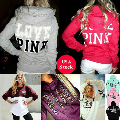 Formal Womens Long Sleeve Sweater Formal Hooded Coat Pink Print Pullover Hoodies