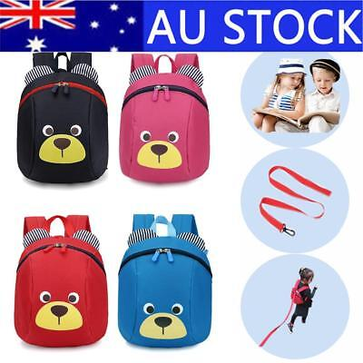 Children Kids Cartoon Bear Harness Strap School Backpack With Reins Anti-Lost