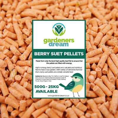 GardenersDream Berry Suet Pellets - High Energy Feed Wild Bird Garden Food