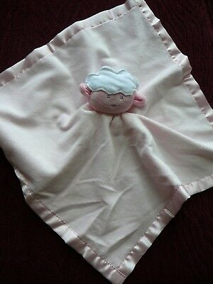 Baby Essentials Sweet Lamb Sheep Security Blanket Rattle Pink Satin Excellent LN