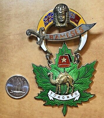 Large Shriners Enamelled Sterling Silver Pin, Toronto Canada