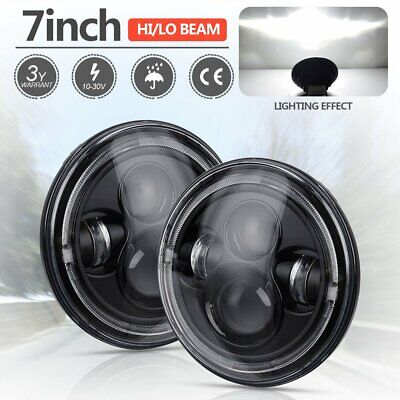 Pair 7inch Projector H4 LED White Halo Round Headlight Hi/Lo For Jeep Wrangler