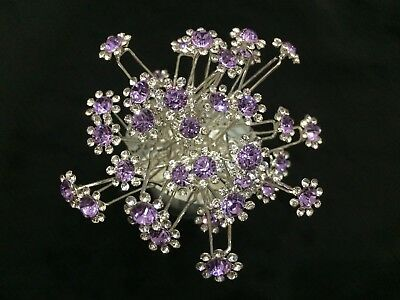 10pcs sparkling crystal flower violet bridal hair pins accessories wedding D