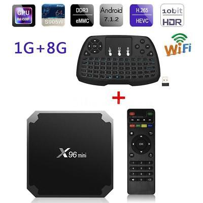 X96 mini Android 7.1 Smart TV Box S905W 8G Quad Core WIFI 4K H.265 HD + Clavier