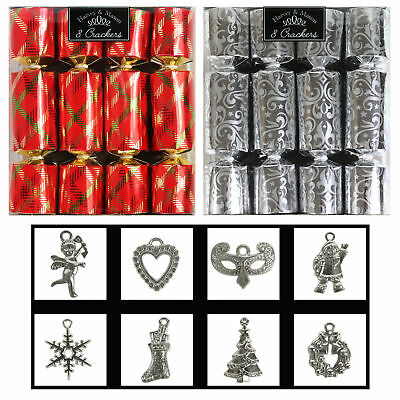 8 Pack Luxury Mini Christmas Crackers with Charms - Choose Colour