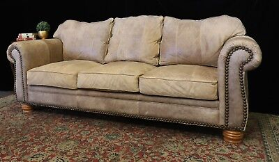 Rare Huge 4 Seat Usa Made Buck Leather Cigar Tan Chesterfield Sofa Couch Lounge