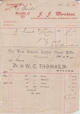 WARRACKNABEAL INVOICES  W C THOMAS  1892  & J J MARCHANT '' 1901 victoria