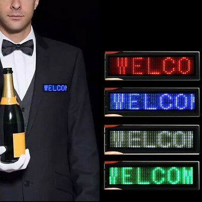 1Pc Mini LED Digital Programmable Scrolling Name Message Tag Badge Sign 4 Colors