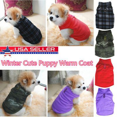 Pet Small Dog Winter Warm Coat Sweater Puppy Apparel Fleece Vest Jacket Clothes
