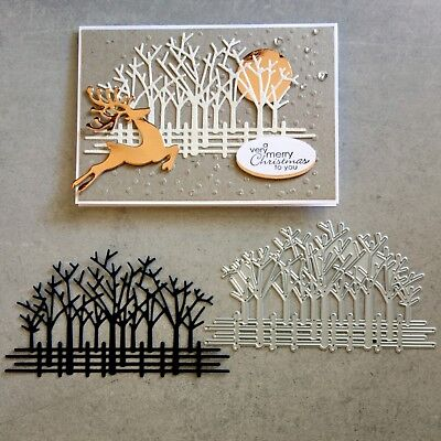 Shopaperartz TREES FENCE FOREST CHRISTMAS CUTTING DIE CARDMAKING FITS SIZZIX