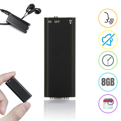 8GB Mini Spy Voice Recorder Audio Activated Listening Device 96 Hours Bug