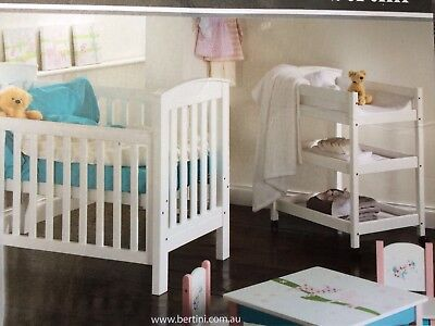 Bertini Renaissance White Cot/Toddler Bed with matching Change Table