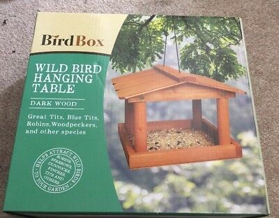 Wild Bird Feeding Station Garden Wooden Tree Hanging Birds Feeder Table