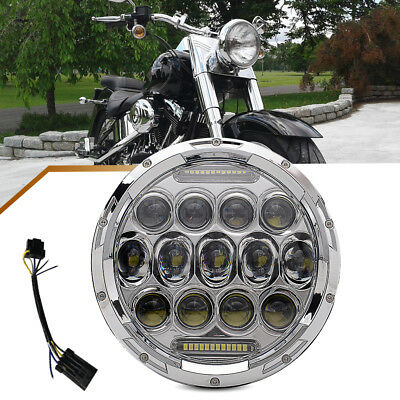"""1*7"""" Chrome LED Daymaker Hi&Lo Beam Headlight DRL for Harley FLD Touring Softail"""