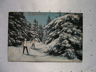 AK Postkarte Harz im Winter, Wintersport, Skiläufer, gel. 1911